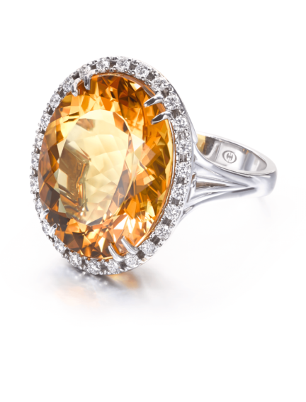 Christopher Designs Oval Yellow Beryl Fashion Ring