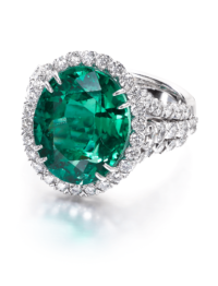 Christopher Designs Oval Green Emerald Fashion Ring