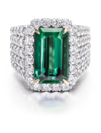 Christopher Designs Emerald Green Tourmaline Fashion Ring