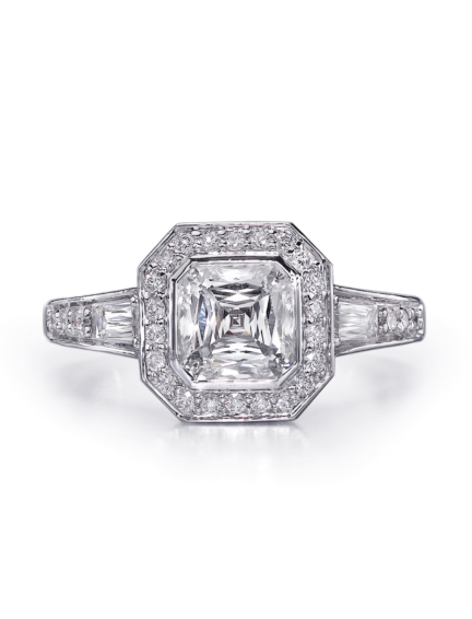 Vintage Style Asscher Cut Diamond Engagement Ring With Halo And Tapered Baguette Side Diamonds D86 Ac125 S0461 Halo Crisscut Diamond Jewelry