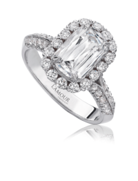 Classic diamond engagement ring with round cut diamond setting in 18K white gold
