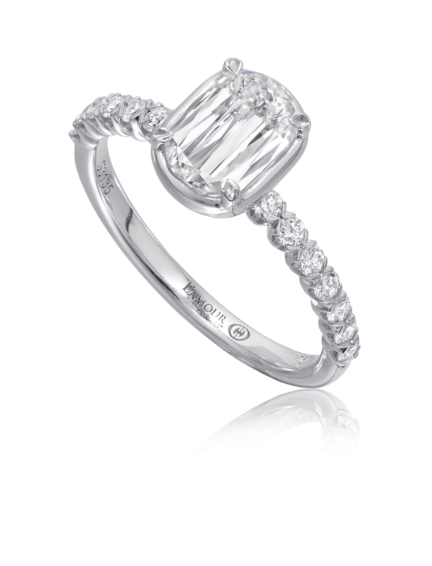 Simple diamond engagement ring with diamond set shank in 18K white gold