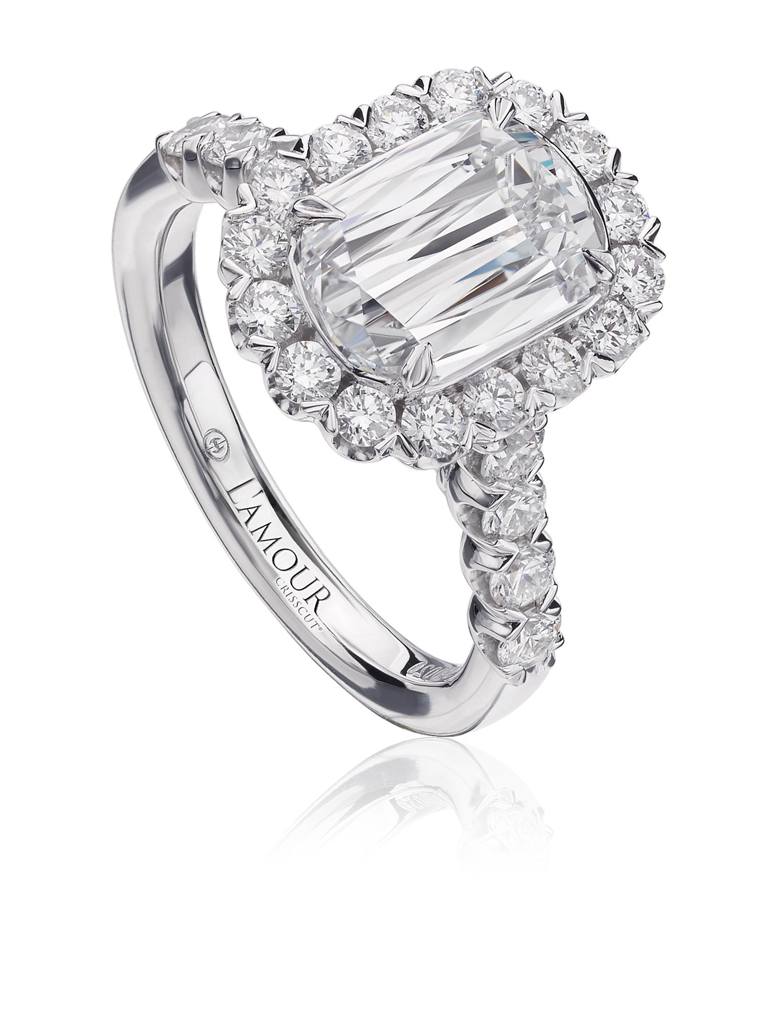 Simple Engagement Ring With Halo And Round Cut Diamonds L101 200 Halo Crisscut Diamond Jewelry