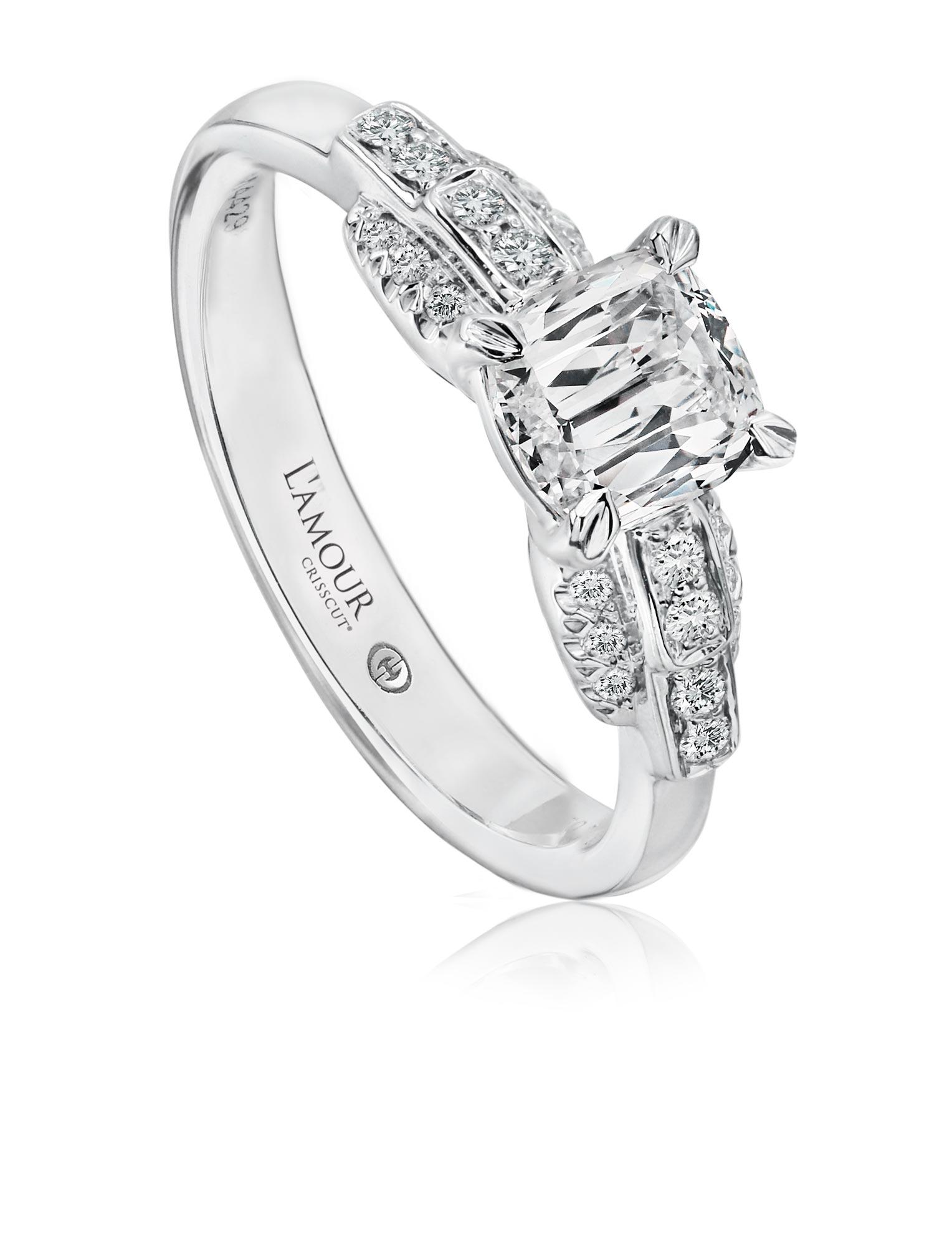 Simple Engagement Ring With Cushion Cut Diamond And Round Diamond Setting L502 Lcu060 S Crisscut Diamond Jewelry