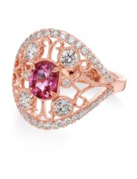 Christopher Designs Oval Pink Sapphire and Diamond Fashion Ring