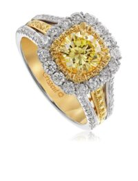 Christopher Designs Round Yellow Diamond Fashion Ring