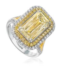 Christopher Designs Emerald Yellow Diamond Fashion Ring