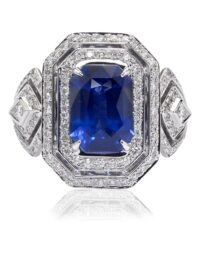 Christopher Designs Emerald Sapphire and Diamond Fashion Ring