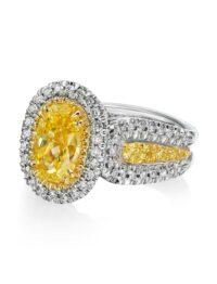 Christopher Designs Oval Yellow Diamond Fashion Ring