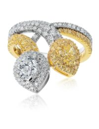Christopher Designs Pear Yellow Diamond and Diamond Fashion Ring