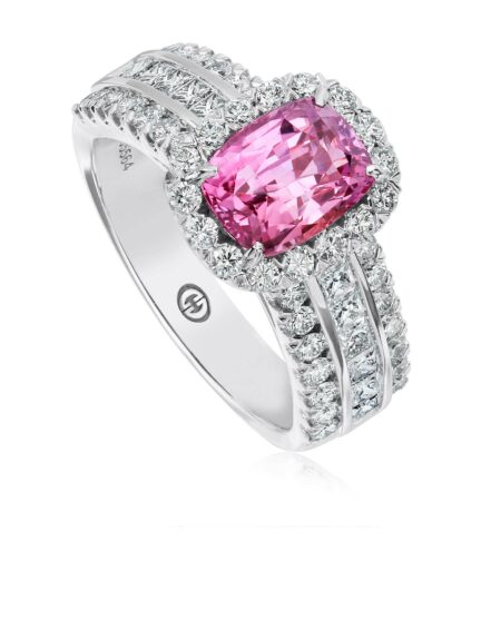 Christopher Designs Emerald Pink Sapphire and Diamond Fashion Ring