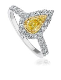 Christopher Designs Pear Yellow Diamond Fashion Ring