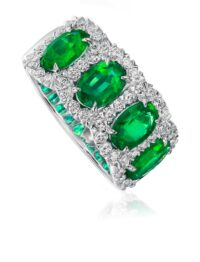 Christopher Designs Oval Emerald and Diamond Band
