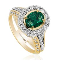 Christopher Designs Oval Cut Emerald Fashion Ring