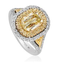 L'Amour Crisscut Yellow Diamond Engagement Ring
