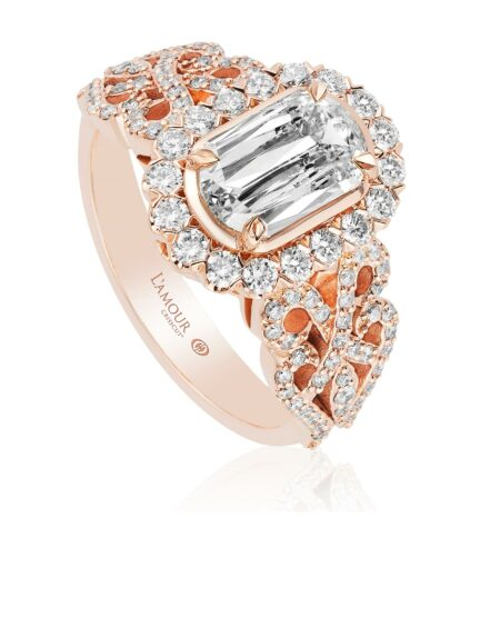 L'Amour Crisscut  Diamond Rose Gold Engagement Ring