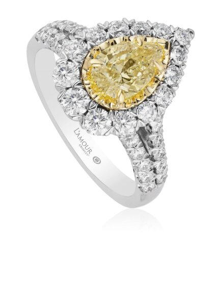 Christopher Designs Pear Shape Yellow Diamond Fashion Ring