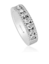 Crisscut Round Diamond Wedding Band