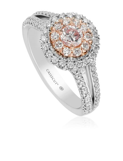 Christopher Designs Round Cut Pink Diamond Ring