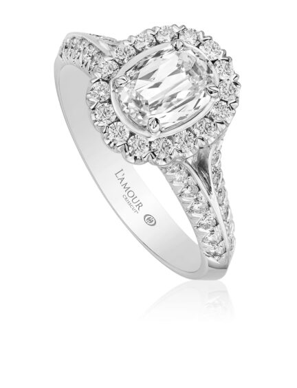 Christopher Designs L'Amour Crisscut Oval Diamond Engagement Ring