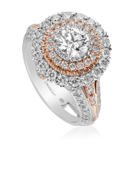 Christopher designs round diamond double halo ring