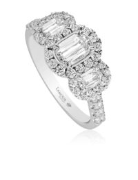 Christopher Designs L'Amour Crisscut Diamond 3 stone Engagement Ring