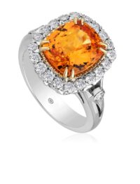 Christopher Designs Mandarin Garnet and diamond Ring
