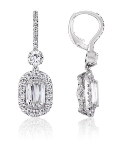 Christopher Designs L'Amour Crisscut Diamond Drop Earrings