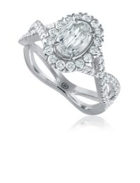 L'Amour Crisscut® oval cut diamond , halo engagement ring