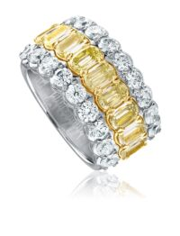 L'Amour Crisscut® yellow diamond anniversary band