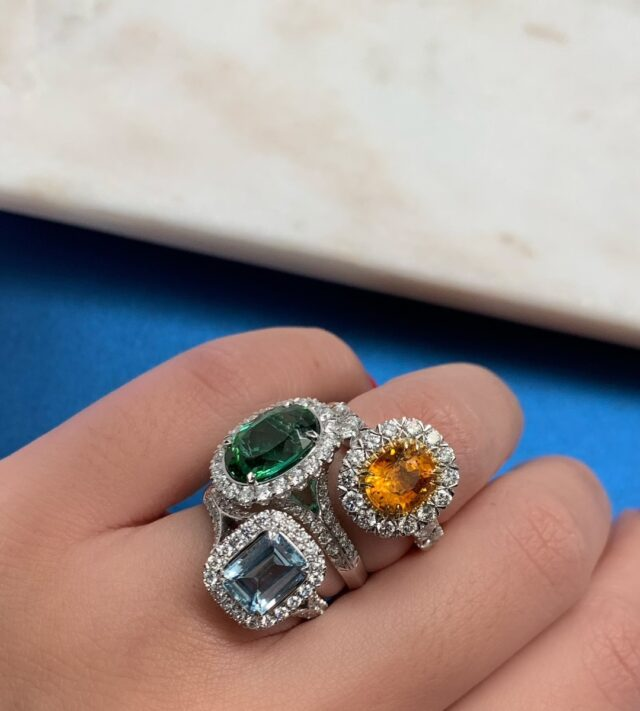 Dropping Gems! These gorgeous gemstone and diamond rings are part of our fashion collection. They are stunning options for a right hand ring, or make a beautiful and unique engagement ring! Explore the collection at www.christopherdesigns.com #christopherdesigns #madeinnewyork