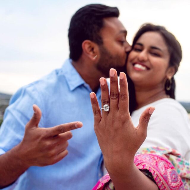 We would like to wish a huge congrats to this beautiful #Crisscut couple! Wishing you a lifetime of love and happiness, @dchatter @rishiban 💕💖 #choosecrisscut #christopherdesigns #engagementphotos #shesaidyes